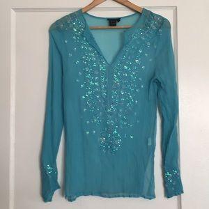 Turquoise sequin VENUS boho blouse